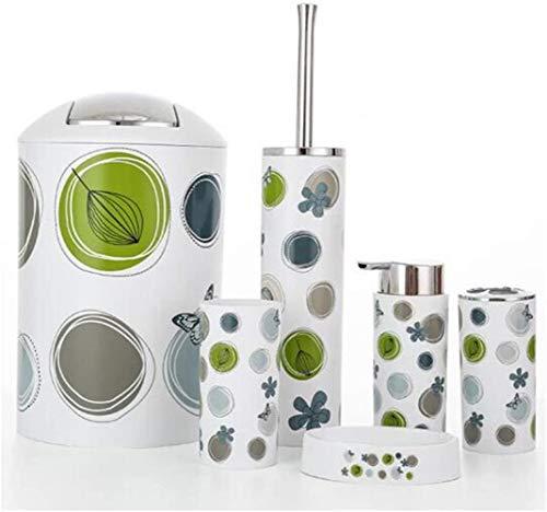 Badkamer accessoires Set, Tandenborstelhouder tandenborstel Cup Zeep Dispenser Zeep Dish Borstel van het toilet prullenbak (6-delige set)