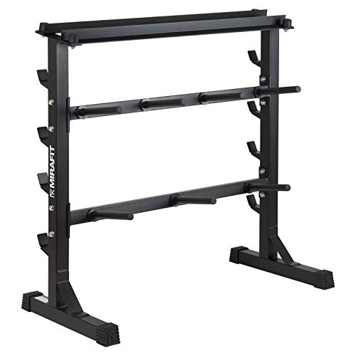 Mirafit 300kg Weight Plate and Bar Rack - Black or Silver