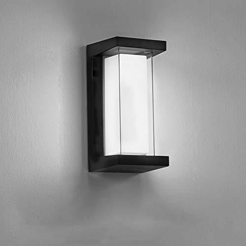 Combuh aplique LED IP65 impermeable 10W aluminio doble capa luz exterior 6000 Kelvin iluminación exterior blanco frío 1000LM aplique exterior para terraza/patio/lámpara exterior de puerta delantera