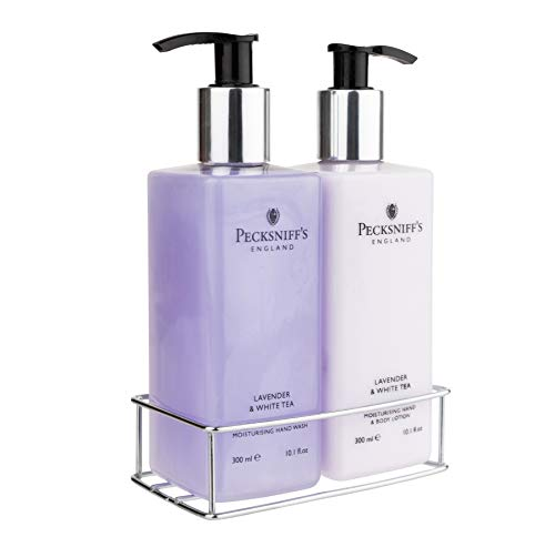 Pecksniffs Luxury Bath Gift Set, Lavender and White Tea Moisturizing Hand Soap and Body Lotion Set with Caddy, 10.1 Fl Oz