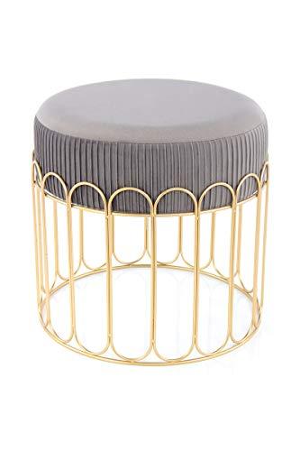 V Vascavi Design-Hocker in elegantem Design | als Schminktisch Sitzhocker Pouf Sitzpouf Pouf Schminkhocker | Grau/Gold