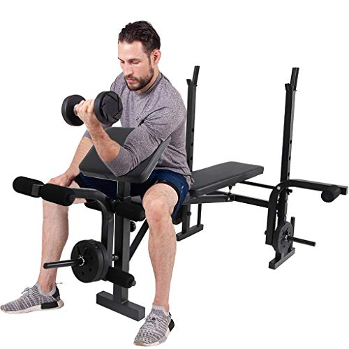 Adjustable Weight Bench with Squat Rack,Leg Extension,Preacher Curl,Weight Lifting Bed Strength Training Equipment Fitness Workout Station for Home Gym[US in Stock]