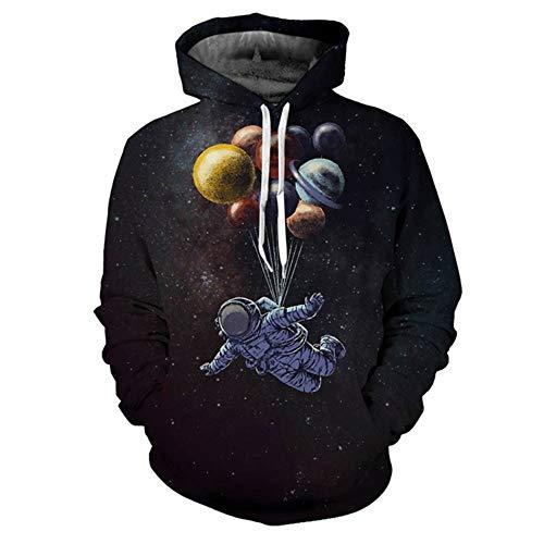 Pullover met capuchon, 3D ballon, Astronaut print, pullover met capuchon, ronde hals, dun geslepen, lange mouwen, groot formaat paar modellen