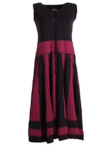 Vishes Langes Sommerkleid aus Baumwolle ohne Ärmel Schwarz Dunkelrot 42/44