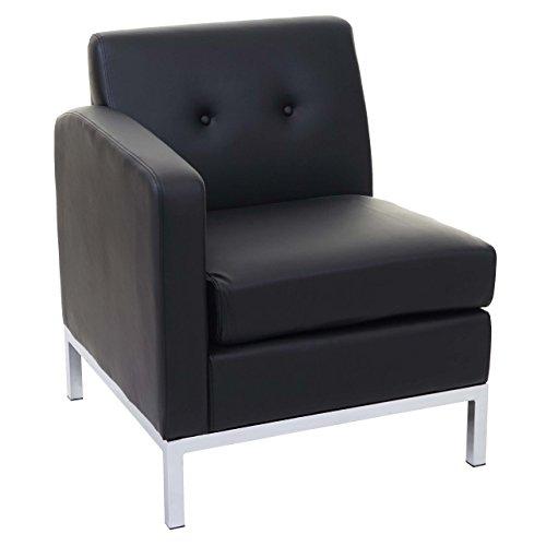 Mendler Sessel HWC-C19, Modular-Sofa Seitenteil Links mit Armlehne, erweiterbar Kunstleder ~ schwarz