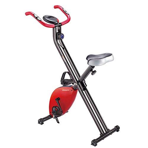 Indoor Cycling Bike Pieghevole Magnetico Verticale Cyclette da Casa Pieghevole, Resistenza Regolabile 8 Livelli, Sicurezza Testata,Rosso