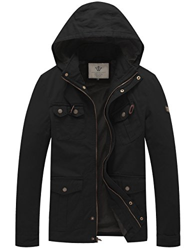 WenVen Men's Cotton Military Overcoat Hooded Jackets (Black,L)