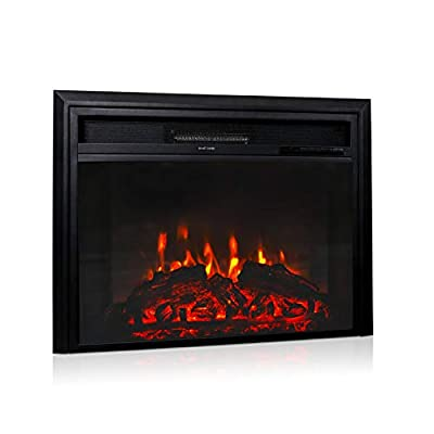 """Kinbor 28"""" Electric Fireplace Inserts Heat Adjustable in-Wall Mount Recessed Fireplace Heater with Realistic Flame, Remote Control"""
