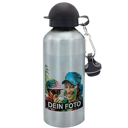 Trinkflasche mit eigenem Foto gestalten, 600ml, Silber | Flasche mit individuellem Bild Bedruckt, inkl. Mundstück und Karabiner