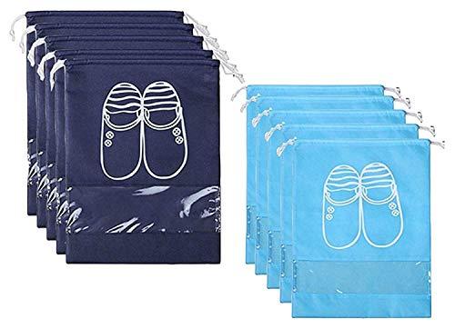 Jasinber Set de 10 Bolsa Para Zapatos, Bolsa Para Zapatos Con Cordón Ajustable Bolsas de Viaje, portátil a prueba de agua (5 L + 5 XL)