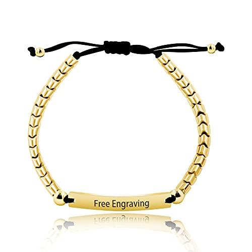 Handmade Unisex Gold Color Hematite Beads Braided Custom Name Bracelet for Men Women Stainless Steel Engrave Name ID Plate Bracelet Y1457