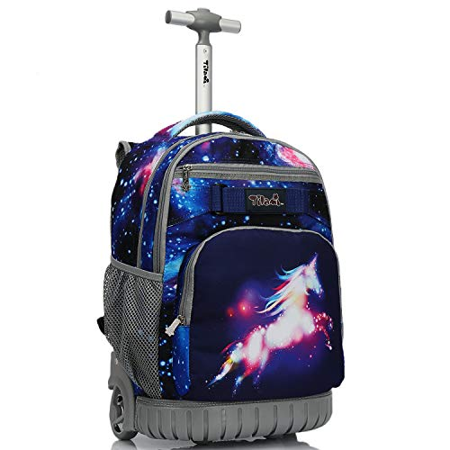 Tilami Rolling Backpack 19 inch Wheeled LAPTOP Boys Girls Travel School Student Trip, unicorn