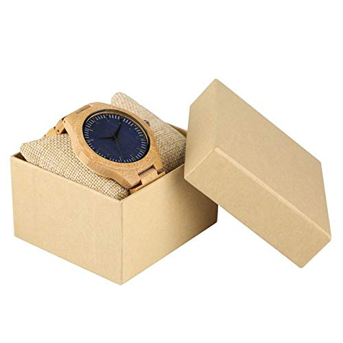STEDMNY Holzuhr Holzuhren für Herren Uhr Männlich Lässig Dunkelblaues Zifferblatt Volle natürliche Bambus-Armreif-Quarz-Armbanduhren aus Holz, Uhr mit Schachtel