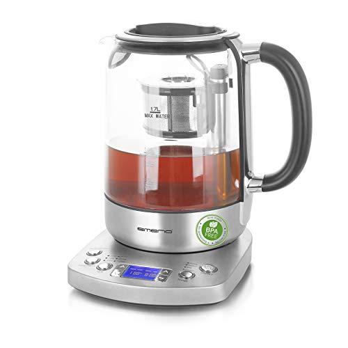 Emerio WK-122248, Glas Teekocher, Wasserkocher, vollautomatisches Teesieb, Absenkautomatik, Borosilikatglas, BPA frei, 1.7l Volumen, Temperaturwahl, 2200 Watt, Schwarz/Silber