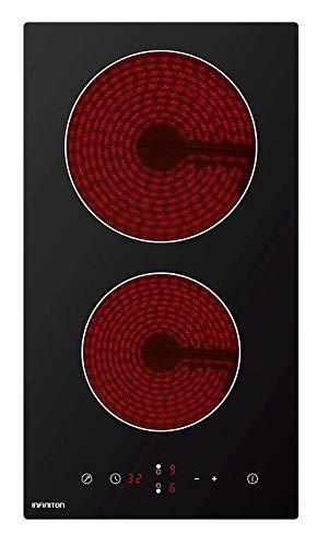 ENCIMERA VITROCERAMICA INFINITON 2 Fuegos (Placa Integrada, Negro, 1200 W, Control tactil)