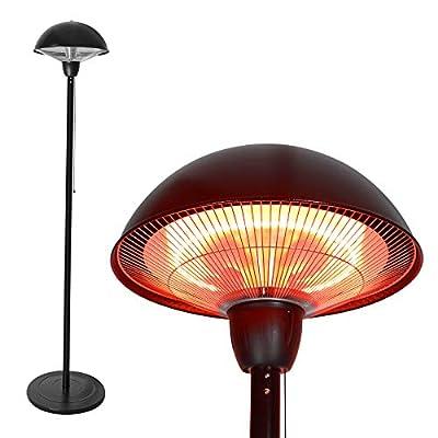 Hand-Mart 1500W Freestanding Electric Patio Heater, Outdoor Infrared Heater, Tip Over Protection, Balcony Heater, Waterproof for Indoor/Outdoor Use,Stainless Steel Rounding Top, Hammered Bronze