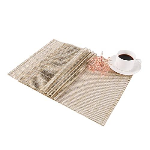 Miorkly-Camino de Mesa Moderno Lavable PVC Caminos para Mesas Bambú Natural Wind Simple 150 × 30cm Beige Tapetes para Mesa Antideslizante Resistente al Calor Interior Centros Decorativos de Mesa