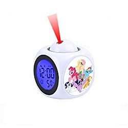Alarm Clock Projection LED Display Time Digital Children's White Alarm Clock Talking Voice Prompt Thermometer Snooze Function Desk My Little Pony Mane Six on Clouds