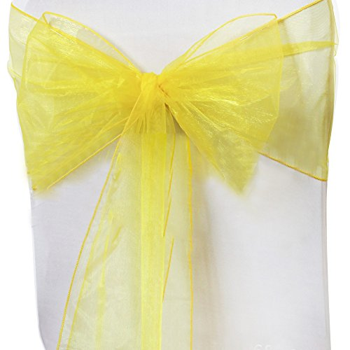 elegantstunning 50pcs Beautiful Organza Chair Sashes with Bowknot for Wedding Party Decor,20275CM Lemon Yellow