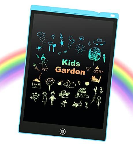 EooCoo Tablette d'écriture LCD 12 Pouces, Colorée Ardoise Magique Tableau Portable pour l'écriture et Le Dessin, avec Bouton de Verrouillage, Bleu