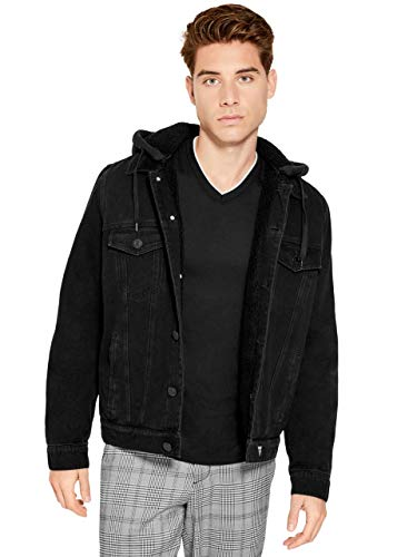 GUESS Factory Men's Clarke Essential Sherpa Button Down Denim Jacket In Medium Wash With Removable Knit Hood
