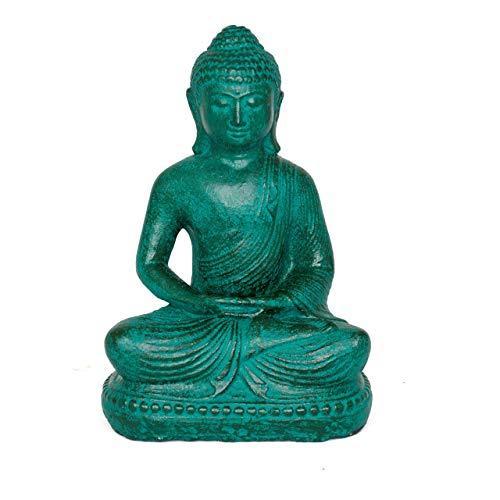 Fahome Buddha Figur Sitzend Stein Statue Lavasand ca. 20 cm Deko Skulptur Grün klein