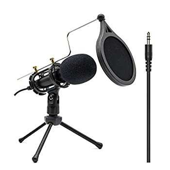 Condenser Recording Microphone 3.5mm Plug and Play PC Microphone Broadcast Microphone for Computer Desktop Laptop MAC Windows Online Chatting Podcast Skype YouTube Game