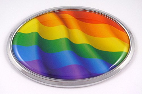 Pride Gay Lesbian Oval Car Chrome Emblem Decal Bumper Sticker
