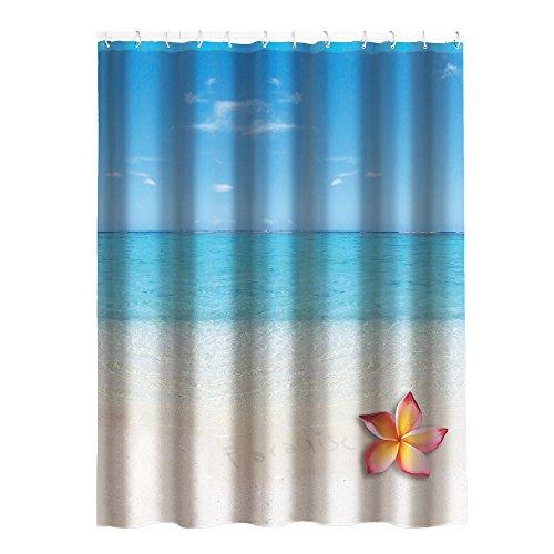 "MSV Anti-Schimmel Duschvorhang - Anti-Bakteriell, waschbar, wasserdicht, mit 12 Duschvorhangringen - Polyester, ""Paradise"" 180x200cm"