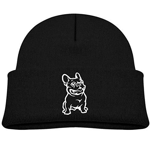 Baby Boy Newborn Beanie Hats French Bulldog Winter Warm Cotton Cap for Kids Girls Black