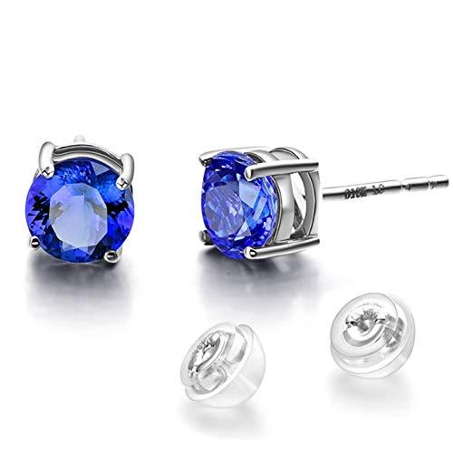 Beydodo Pendiente de Mujer de Plata Azul,Pendientes de Oro Blanco 18 Kilates Redondo Tanzanita Azul 1.8ct