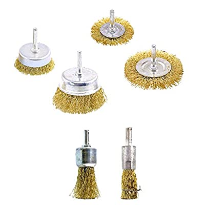 6Pcs Wire Brush Wheel Cup Brush Set - Brass Coated Wire Drill Brush Set for Polishing, Removal of Rust/Corrosion/Paint