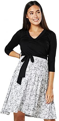 HAPPY MAMA Damen Umstandskleid Stillkleid 3/4 Ärmel 525p (Schwarz & Weiß mit Blumen, 42-44, XL)