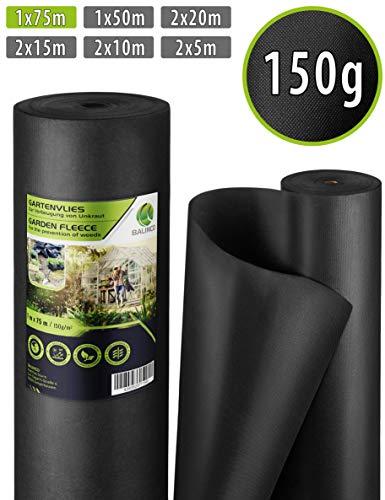 Balinco Unkrautvlies 150g/m² | Unkrautfolie | Gartenvlies gegen Unkraut - reißfest, wasserdurchlässig & hohe UV-Stabilisierung (75m² (75m x 1m))