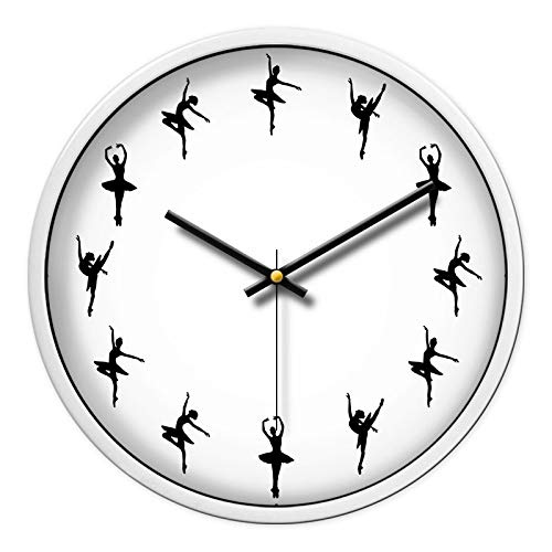 Art Training School Dance Klassenzimmeruhr Silent Watch Ballettuhr Tanzsaaluhr, 12 Zoll, 80 weiße Box