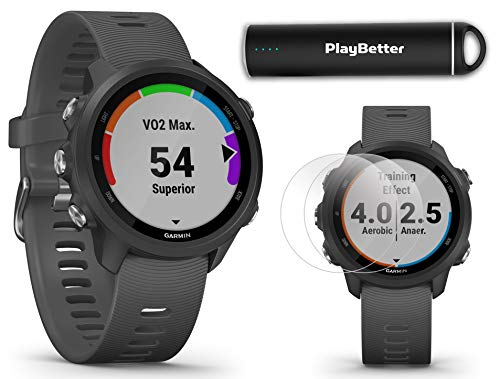 Garmin Forerunner 245 (Slate Gray) Power Bundle | +HD Screen Protectors & PlayBetter Portable Charger | Advanced Analytics, Heart Rate | Running GPS Watch | 010-02120-00