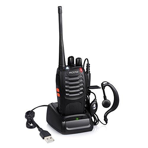 Proster Walkie Talkie Recargable 16 Canales CTCSS DCS Talkies Walkies con el Auricular Incorporado Antorcha de LED y Cargador USB Walky Talky(1 PCS)