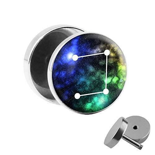 Treuheld® | Fake Plug sterrenbeeld/sterrenbeeld weegschaal - Ø 10 mm afbeelding oorstekers met motief om te schroeven - chirurgisch staal oor faketunnel zilver - tunnel oorbellen oorring staal fake plug