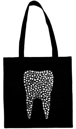Textildruck Universum Baumwolltasche Zahn aus Symbolen Stoff Jütebeutel (Schwarz)