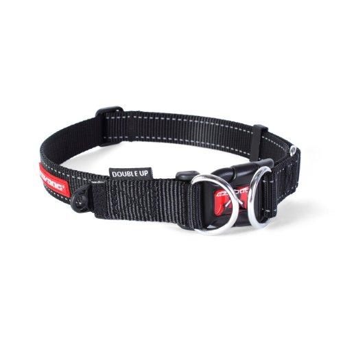 EzyDog Double Up halsband, zwart, Large (39cm - 59cm)
