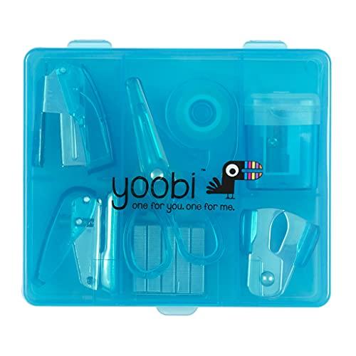 Yoobi Flat Mini Supply Kit   Includes Pencil Sharpener, Scissors, Stapler, Staple Remover, Staples, Tape Dispenser, Hole Puncher and Case   Blue