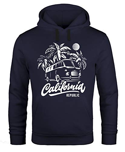 Neverless Lässiger Surf Hoodie Herren California Bus Abenteuer Urlaub Kapuzen-Pullover Männer schwarz L