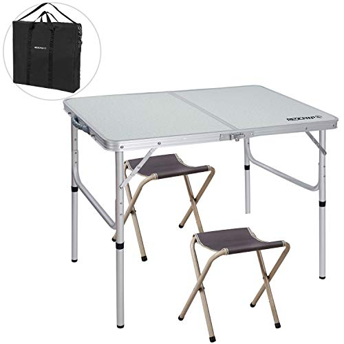REDCAMP Folding Camping Table Adjustable, Portable Picnic Table with 2 Chairs, Aluminum White 35.4'x23.6'x15''/27.6'