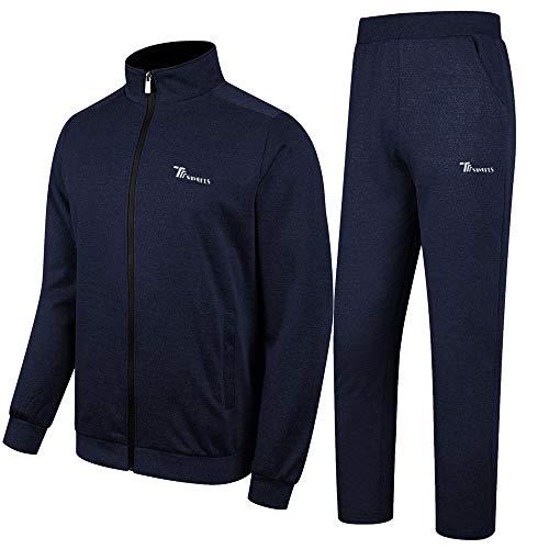 donhobo Survêtement Homme Ensemble Casual Sport Sweat à Zippé et Pantalon Jogging de Cordon de Serrage (Bleu, XL)