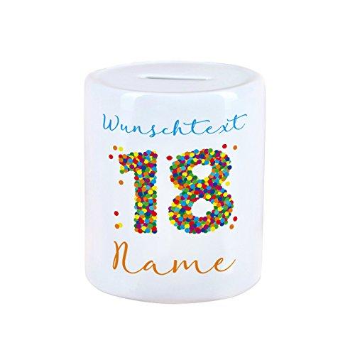 Herz & Heim® Spardose zum 18. Geburtstag mit Namen und Wunschtext Bedruckt