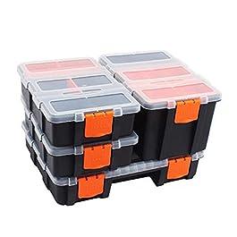 Boîte À Outils 4 PCS / SET Boîte à outils Stockage en plastique Étui combiné avec une vis de couvercles transparentes…