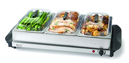 Betty Crocker Buffet Server & Warming Tray, 3 serving vessels, Metal