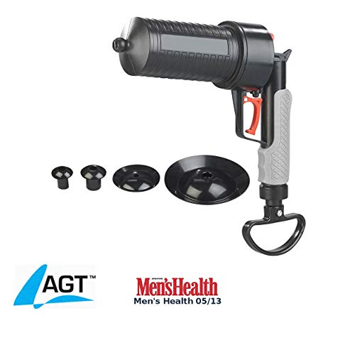 AGT Rohrfrei: XL-Pressluft-Rohrreiniger mit handlichem Pistolengriff und 4 Aufsätzen (Abfluss Pistole)