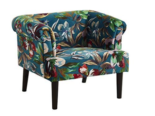 Atlantic Home Collection Charlie Sessel, Armlehnenstuhl mit Massivholzfüßen, Samt, Blumenmuster petrol, 74 x 86x 70