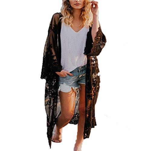 Mujer Encaje Cardigan Largos de la Playa Bohemia Mujer Primavera Verano Tallas Grandes Kimono Cárdigan Extragrande Wraps Tops Outerwear Jersey